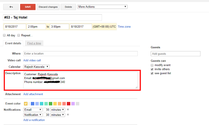 Event Description in Google Calendar